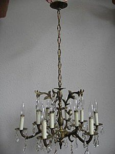 Vintage French Brass Crystal Chandelier 12 Light