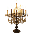 Vintage French Brass Crystal Candelabra Chandelier