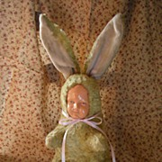 "Antique Plush and Celluloid Easter Rabbit 15"" Doll Face"