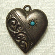 Sterling Repousse Puffy Heart Charm with Turquoise Bead