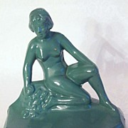 Vintage Art Deco Metal Female Figurine Bookend