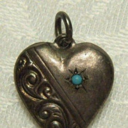 Sterling Silver Repousse Puffy Heart Charm with Turquoise Bead