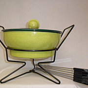 Vintage Two-Tone Green Fondue Pot