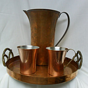 Revere Copper and Brass Pitcher, Tray and Two Mugs