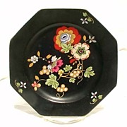Crown Ducal Black Beaumont Variation Octagonal Plate Plates Flowers Red Green