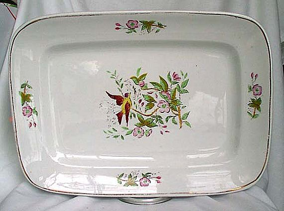 Alfred Meakin White English Ironstone Platter MEA 269 Bird & Flowers