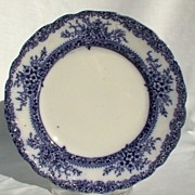 "New Wharf Pottery Plymouth Flow Blue 8"" Plate Burslem Stoke On Trent Staffordshire Englan"