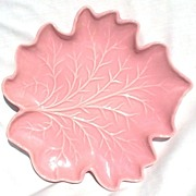 Royal Haeger Pottery Pink Fall Autumn Leaf Dish R126A