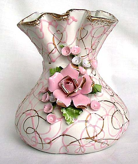 Lefton 50440 Bag Vase Pink Blue Gold Flowers