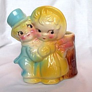 American Bisque Winter Couple Planter