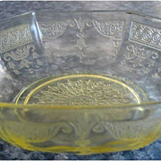 "Princess Topaz 5"" Handled Cereal Oatmeal Bowls Depression Glass"