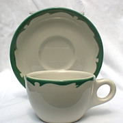 Buffalo China Green Crest Cup & Saucer Sets