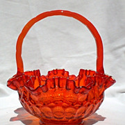 "Fenton Basket Thumbprint Orange 8"" Handled 1960s"