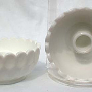Fenton Candlesticks Bowls Old Virginia Thumbprint Milk Glass TWO 1950s