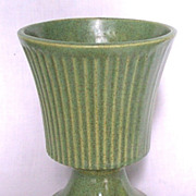 McCoy Floraline Green Pedestal Planter Vase 474 Original Floraline Mark 1960s