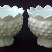 Fenton Miniature Candlesticks Candle Bowls White Milk Glass Hobnail 3873 PAIR