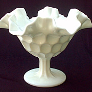 Fenton Thumbprint Olde Old Virginia Comport Candy Dish White Milk Glass 1950s