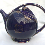 Vintage Hall Airflow Cobalt Blue 6 Cup Teapot With Gold Rose Accent