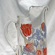 Mid Century Tall Pitcher Hazel Atlas Style Tulip Iris Red Blue Retro