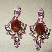 Fabulous Vintage French Opera Rhinestones Earrings.