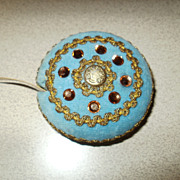 Beautiful Early Vintage Seamstress Velvet Crystal Beads Tape Measure.