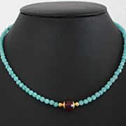 SOLD Beautiful Vintage Amazonite Tourmaline Necklace.