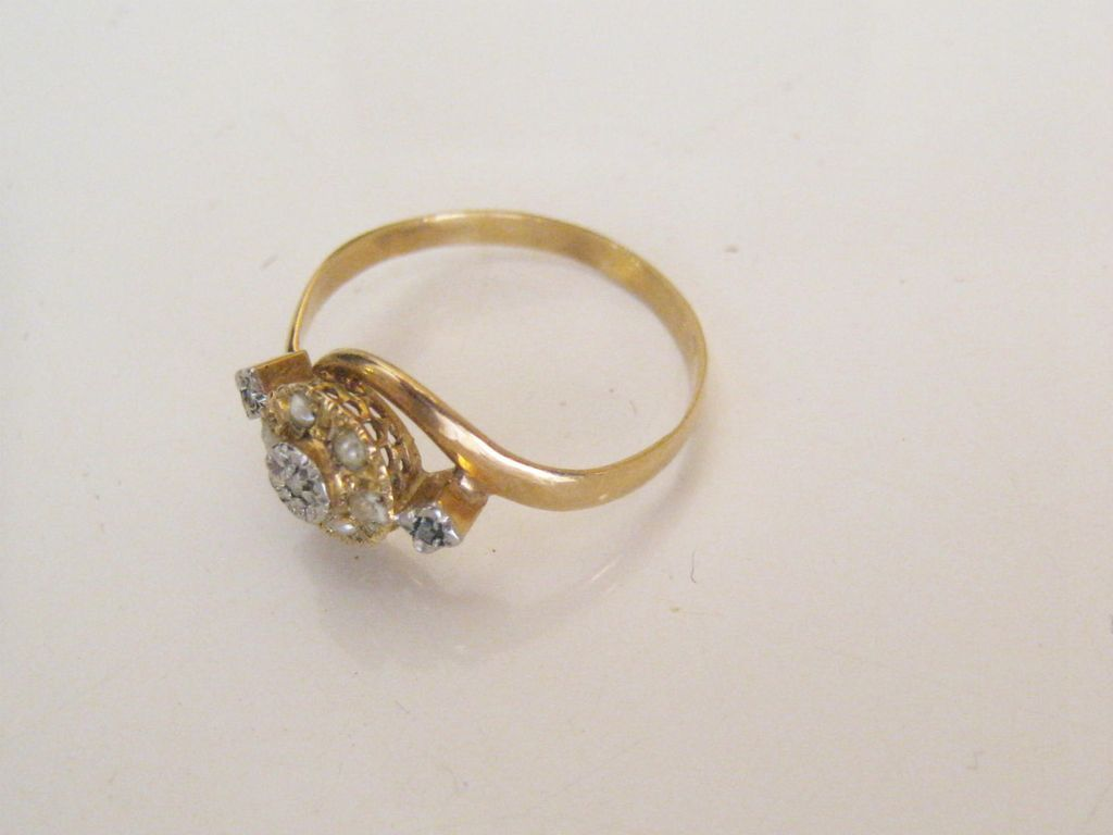 Stunning Antique 18 Carat Gold French Toi Et Moi Diamond Seed Pearls Engagement Ring.
