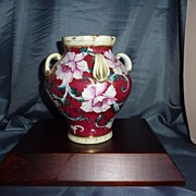 Austrian 4 handled porcelain vase with Roses
