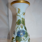 Baccarat Opaline glass vase. Circa 1850 Morning glory and rose