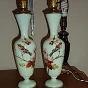 Lovely pair of Opaline French Lamps with hand enameled birds and roses