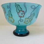 Art Deco Haida possibly Steinsch�nau Teal glass Centerpiece bowl vase