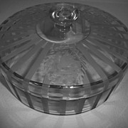 Hawkes Covered glass dish with medallion etching