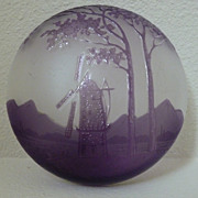 Kralik Cameo powder or bonbon jar with windmill scene.