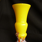 Kralik Sunshine Yellow Czech Deco glass vase with spatter
