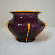 Loetz Ausfuhrung 216 Amethyst and Mandarin orange with drops Art Deco glass