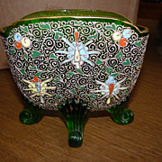 Moser Fan vase Enameled with stylized flowers. circa 1880