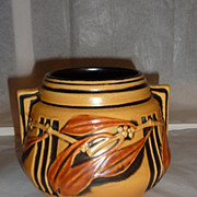 Roseville Laurel Jar Yellow and black Uranium glaze