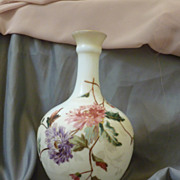 Tischer Decorated glass vase, Cream enameled floral