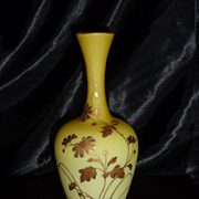 Webb Imperial Yellow satin glass vase Gilded Flowers, Insect: Butterfly