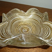 Opalescent Aventurine Ribbed Murano glass bowl