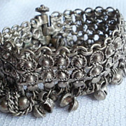 SALE Hearts and 25 Bells! Ornate Cuff Bracelet 7&quot; with dangling chains with Hearts and 25