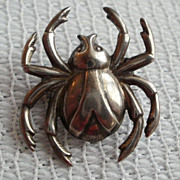 SALE Sterling PIN of a Spider, Beetle or Bug,  by Lang 1946-1977