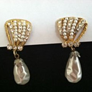 signed Hattie Carnegie elongated simulated Pearl Dangle drop earrings with Rhinestones