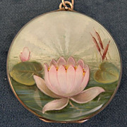 Silver Gilt and Enamel Art Nouveau Water Lily Locket