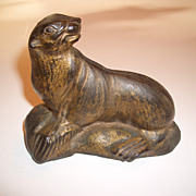 "SALE Arcade Cast Iron ""Seal On Rock"" Still Bank"