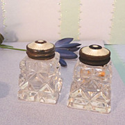 Cut Crystal Salt & Pepper with Mother of Pearl Tops