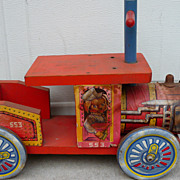 Vintage Wooden Child's Riding Steam Engine Train