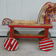 Vintage Wooden Child's Riding Toy Horse
