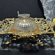 Brass and Glass Dip Inkwell