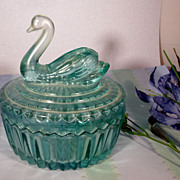 Glass Blue Swan Powder Box and Lipstick Holder